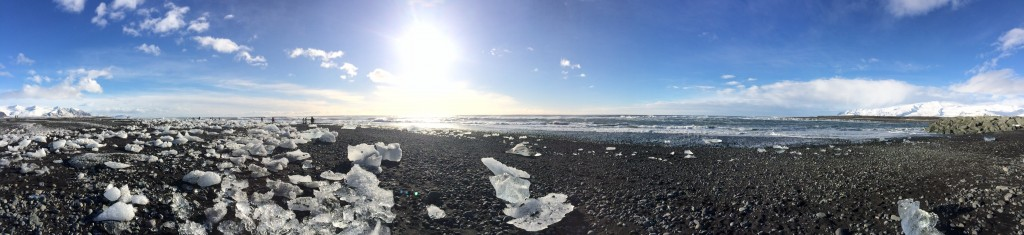 Panorama of Jokulsarlon beach