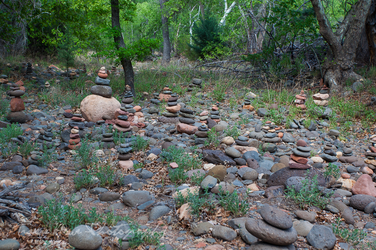 cairn field in on the Baldwin trail in Sedona Arizona