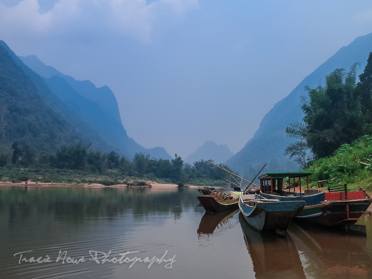 Boats at Mong Ngoi, Laos