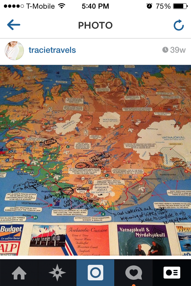 Instagram of map with notes