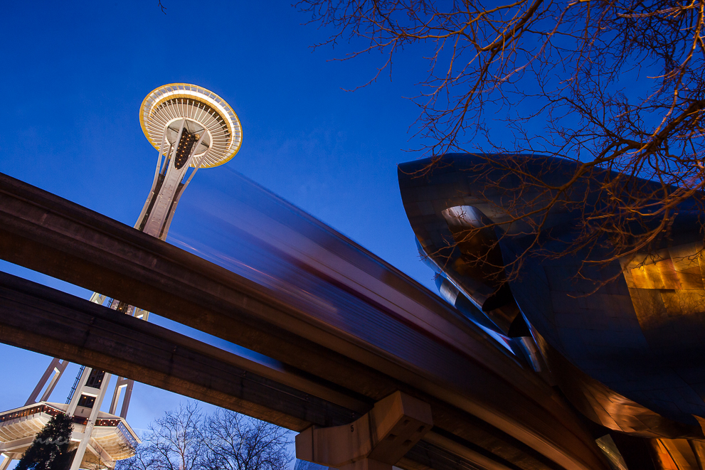 EMP and Space Needle from below