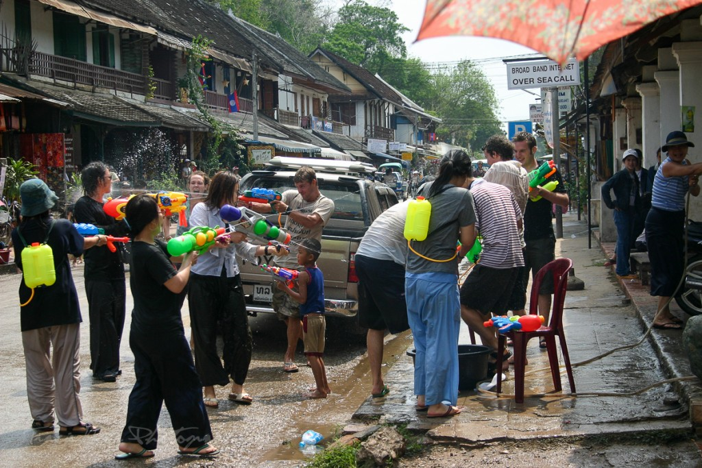 Pi Mai water fight Laos