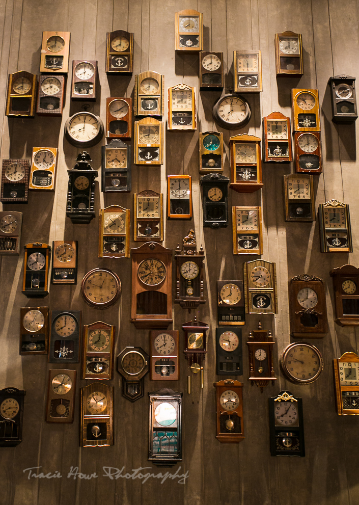 A wall of clocks that struck my fancy. These are found facing the Ballroom.
