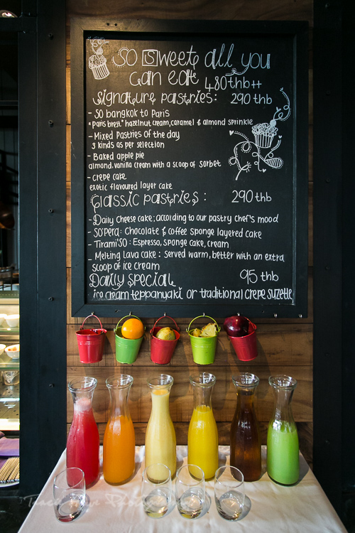 A variety of fresh juices available at the Red Oven.