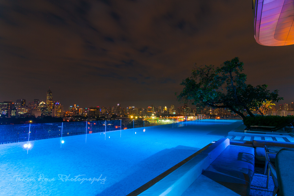 An evening shot of the Sofitel So Bangkok infinity pool. Lovely!