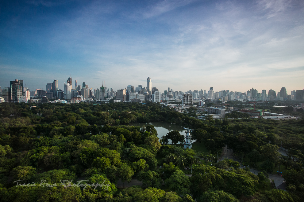The view of Lumphini Park and Bangkok