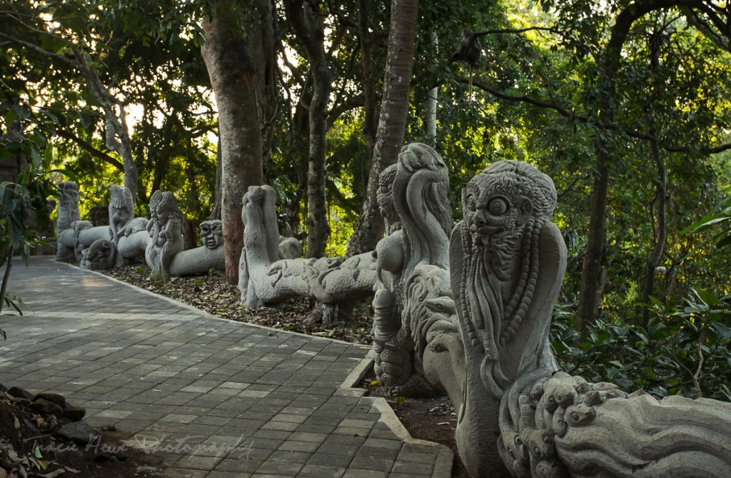 Some statues in the Sacred Monkey Forest.