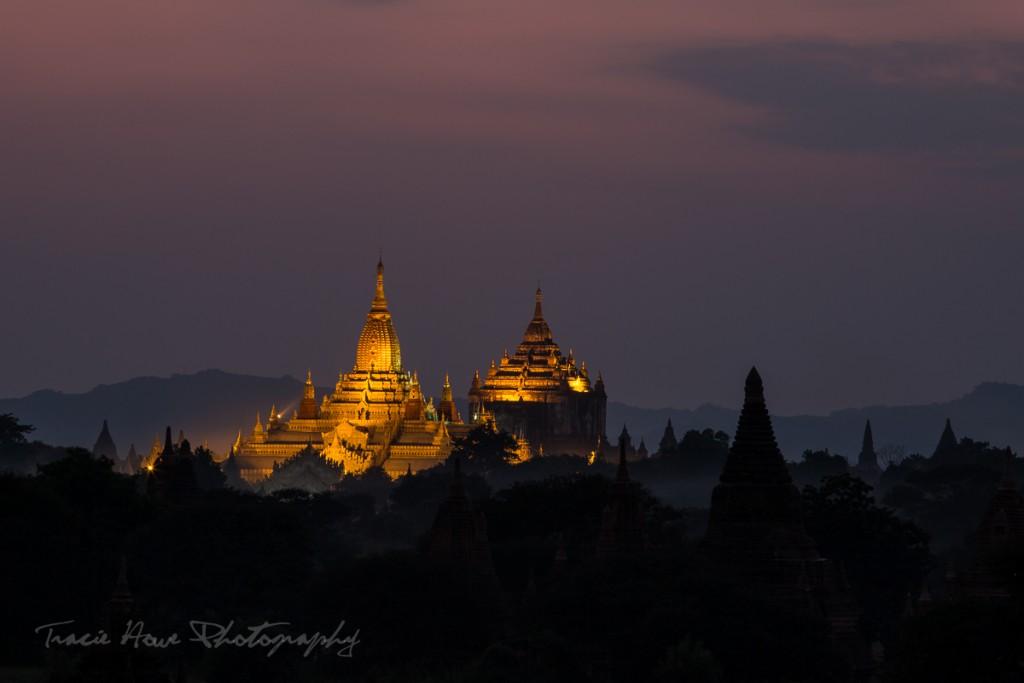 Bagan temples at Dusk