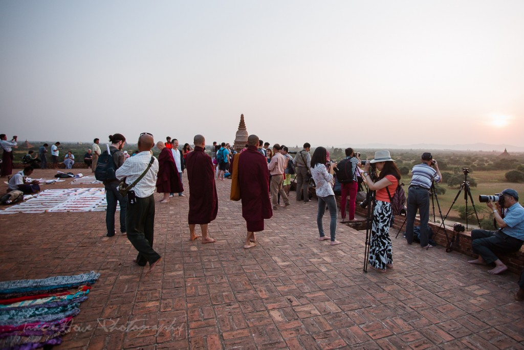 Crowded Bagan temple at sunset