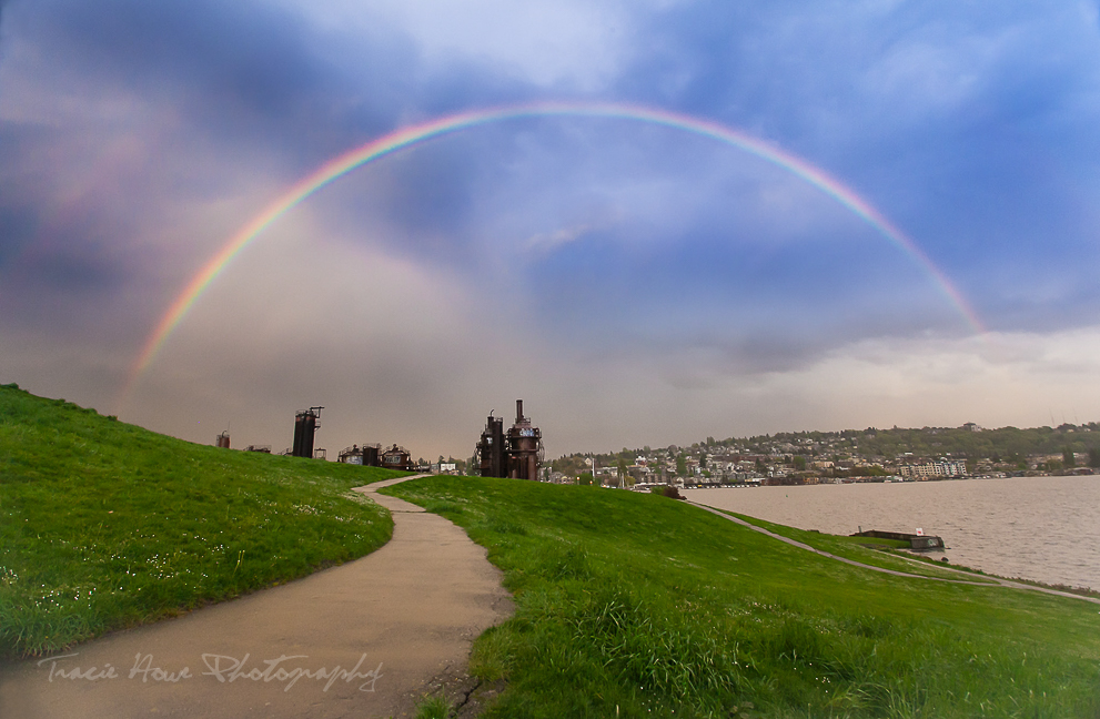 Rainbow over Gasworks park in Seattle