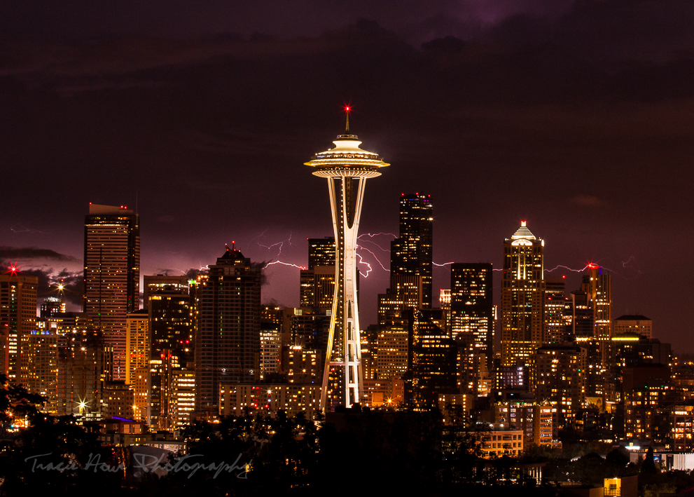 Seattle Space Needle with lightning