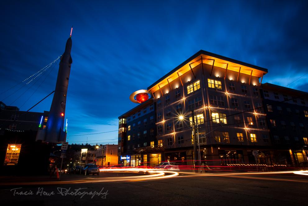 Fremont neighborhood at night in Seattle