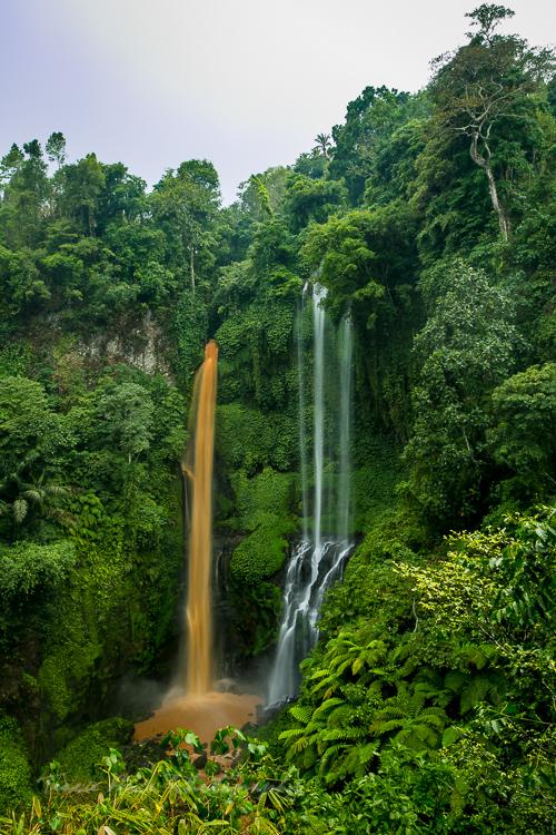 dual colored waterfall Bali