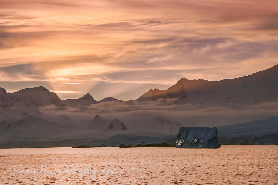 iceberg sunset in Antarctica