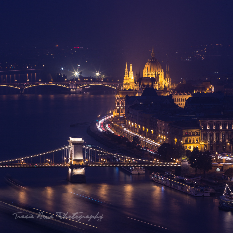 Budapest city view at night