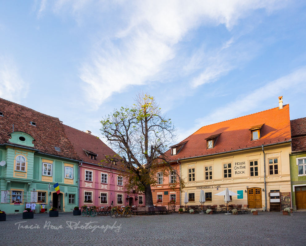 colorful square in Sighisoara Romania