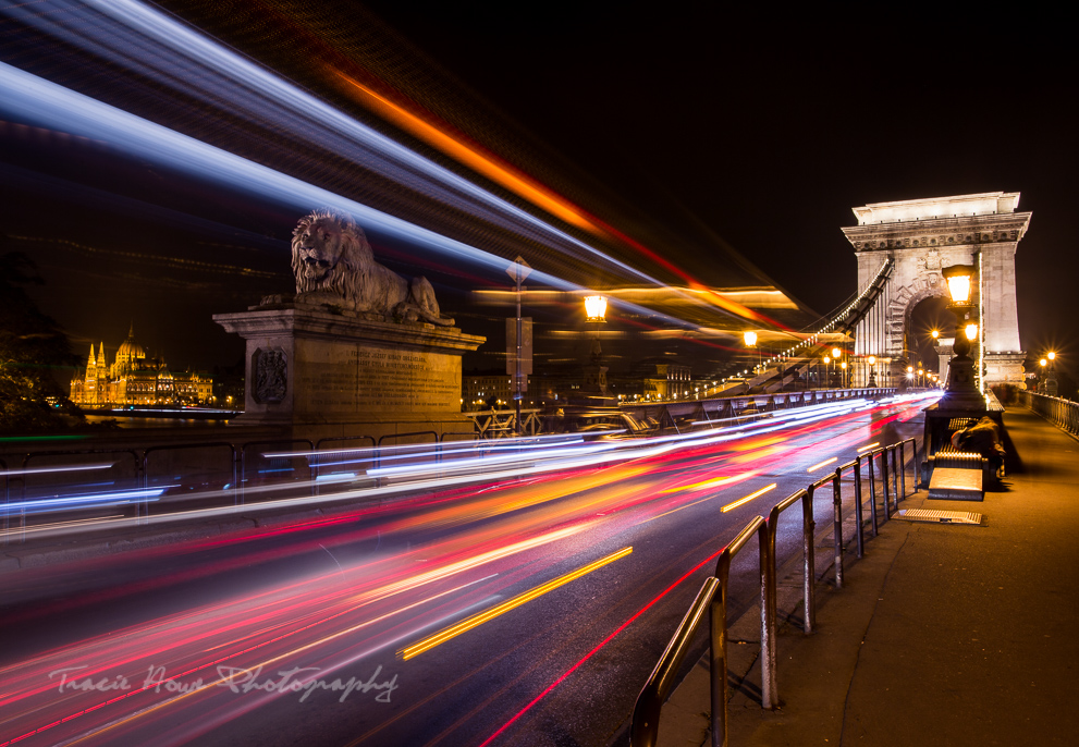 the best of Budapest - light trails at the Chain Bridge