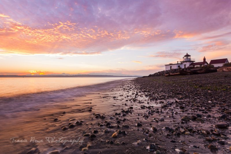 West Point Lighthouse Discovery Park sunset