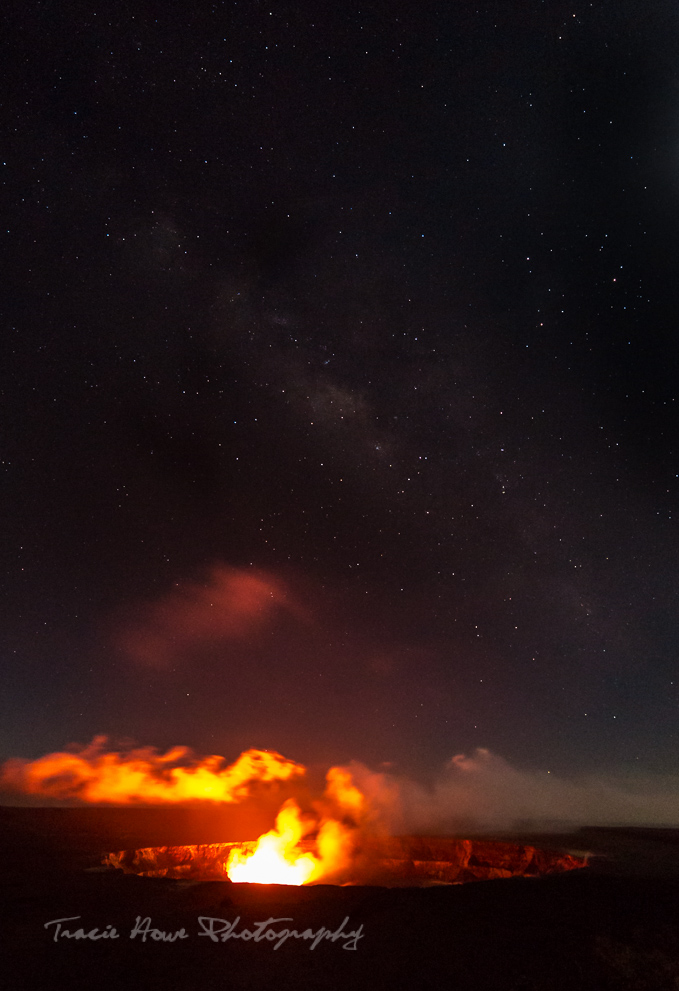 Lava glow from afar at Hawaii Volcanoes National Park.