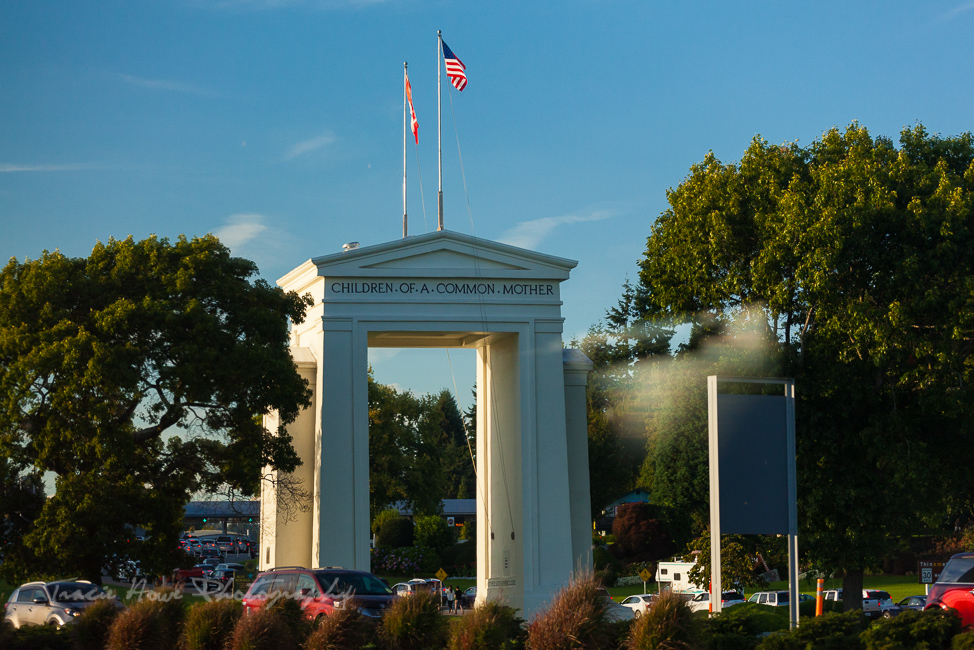 Peace Arch border crossing from train window