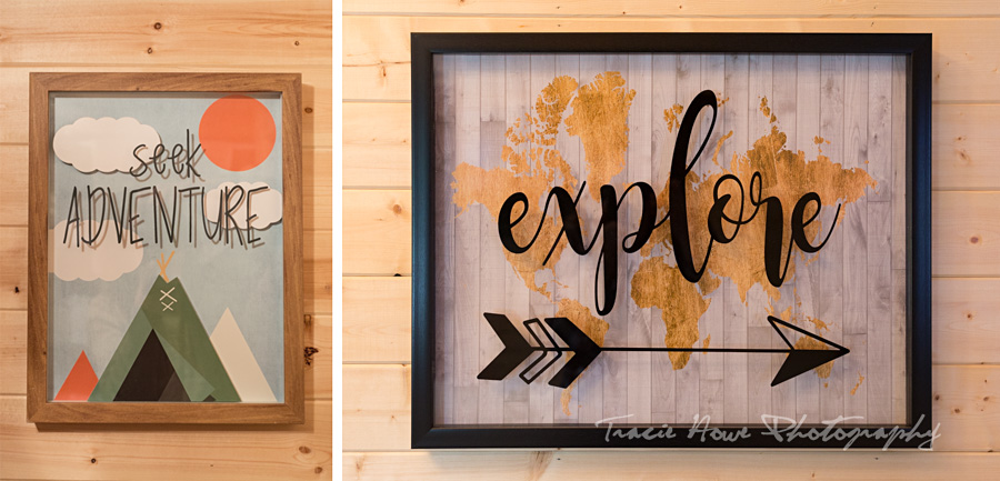 Adventure signs in tiny house